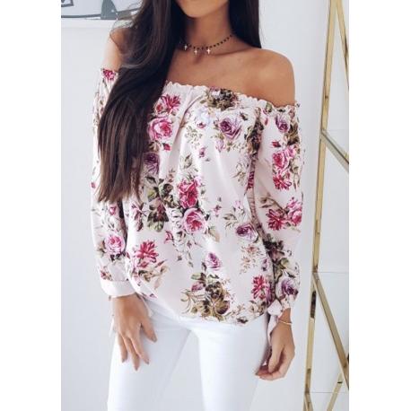 Blusa Estampa Floral Decote Tomara que Caia Manga Longa Moda Elegante Estilo Feminina