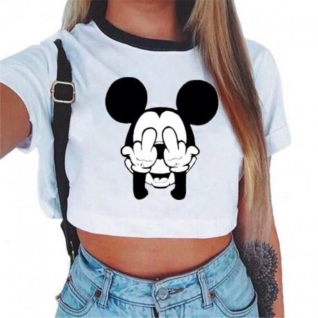 Blusa Cropped Curta Estampada Mickey Mouse com Estilo Feminina Casual Fashion Confortável