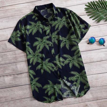 Camisa Estampa Coqueiros Moda Praia Férias Estilo Verão Masculino Moderno Fashion Casual
