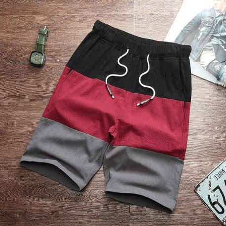 Bermuda em Moletom com Estampa Em Color Block Masculina Casual Moda Inverno Cintura Elástica Bolso