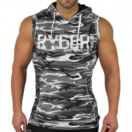 Camisa Regata Masculina Casual Treino Com Capuz Top Fitness Homens
