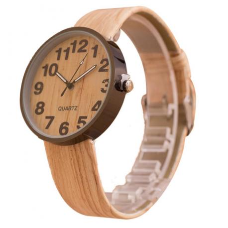 Relógio Quartzo Analógico Mostrador Madeira Pulseira de Couro Casual Dia a Dia Moderno Fashion
