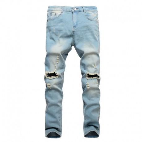 Calça Jeans Masculina Rasgada Moda Hip Hop Top Casual Homens Fashion