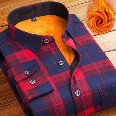 Camisa Moda Inverno Xadrez Masculina Algodão Trabalho Slim Fit Bonita