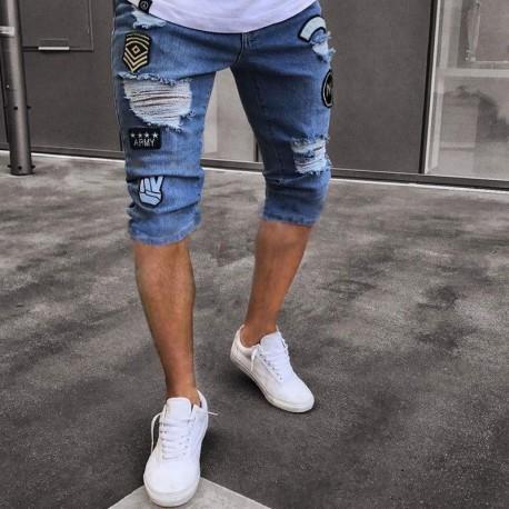 Short Jeans Rasgado Masculino Estiloso Moda Verão Top Casual Homens