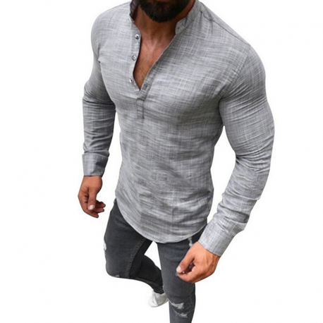 Camisa Masculina Gola Henley V Botões Estilo Casual Moda Outono Macia Confortável