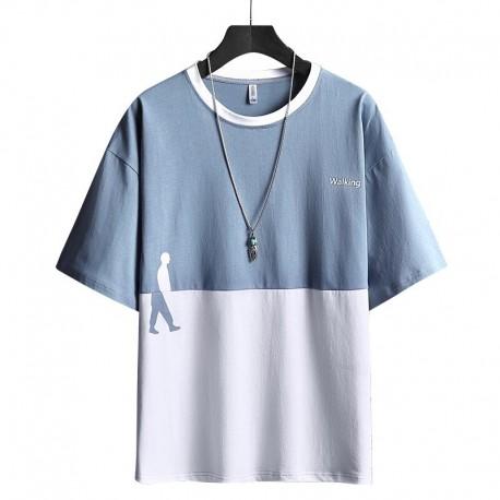 Camiseta Estampada Color Block Masculina Manga Curta Gola O Fashion Estilo Casual Elástica