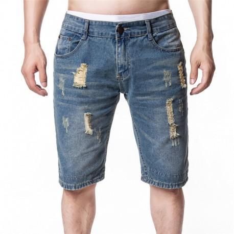 Bermuda Jeans Rasgado Masculino Moda Hip Hop Homens Casuais