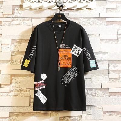 Camiseta com Estampa Frases Solta Moda Masculina Hip Hop Elástica com Estilo Streetwear Fashion