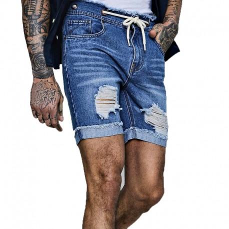 Short Jeans Curto Rasgado Masculino Moda Casual Homens Top Fashion