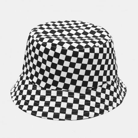 Chapéu Bucket Hat com Estampa Xadrez Casual Moda Hip Hop Estilo Verão Praia Dupla Face Unissex