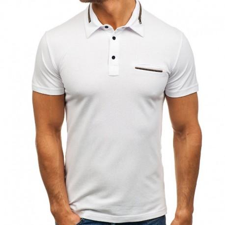 Camisa Polo Masculina Bolso Moda Outono Homens Estiloso Top Casual
