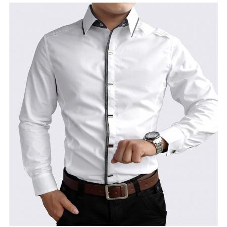 Camisa de Negocios Masculina Algodão Homens Alta qualidade Ocasional