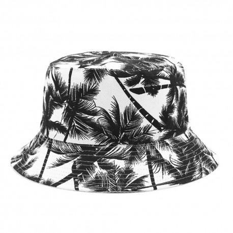 Chapéu Bucket Hat Balde Moda Praia Estilo Verão Férias com Dupla Face Estampa Coqueiros Confortável Leve