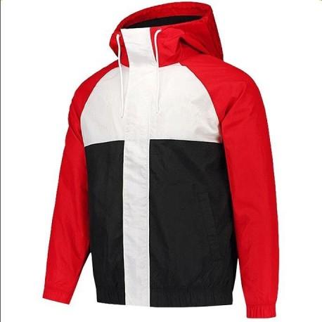 Jaqueta Corta Vento com Capuz Bolso Ziper Forro Respirável Estampa Color Block Moda Masculina