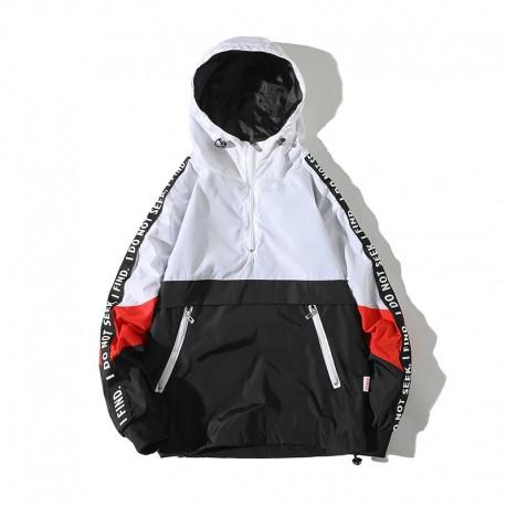 Jaqueta Corta Vento Streetwear com Estilo Hyper com Estampa em Color Block com Listras Lateral