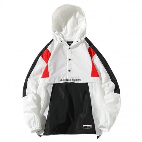 Jaqueta Masculina com Capuz com Estilo Hyper Streetwear Listras Lateral Botão Forro Respirável