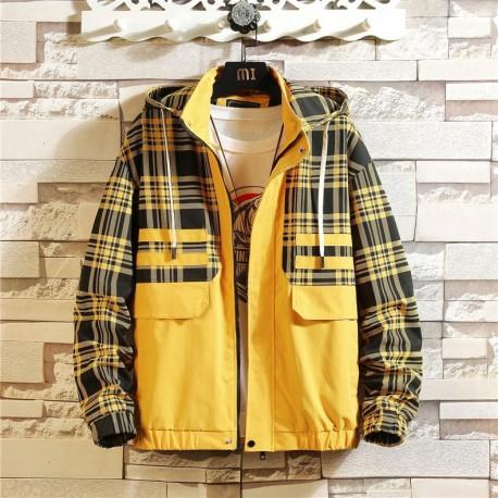 Jaqueta Corta Vento Estampado Xadrez Color Block Bolso com Capuz Manga Longa Estilo Streetwear