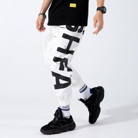 Calça Jogger Harém Streetwear com Estilo Hip Hop Solto Moda Festas Baladas Estampada Frases