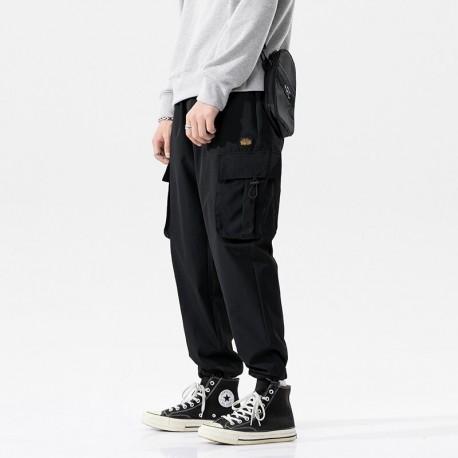 Calça Jogger com Bolso Lateral Cargo Cintura Elástica Moda Hyper Fashion Moderna Casual Macia