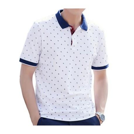 Camisa Polo Casual Elegante Masculina Estampada Formal Top