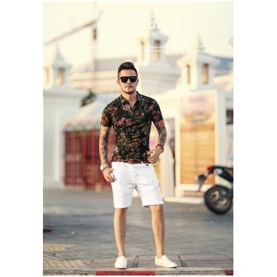 Short Jeans Rasgado Branco...