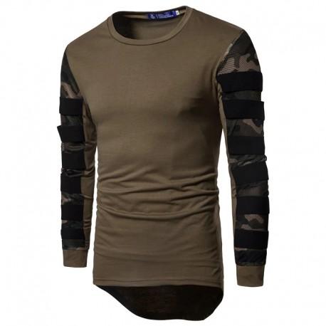 Camiseta Camuflada Militar Masculina Justa Casual Estiloso Moda Hip Hop