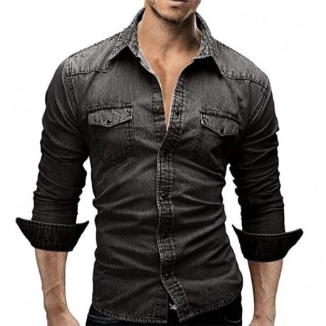 Camisa Jeans Manga Longa Casual Outono Casual Trabalho Negocios