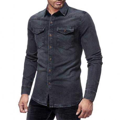 Camisa Jeans Masculina Casual Moderno Algodão Verão Manga comprida