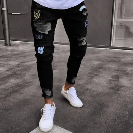 f935fb41d Calça Jeans Masculina Slim Moda verão Jovens Homens Boradada