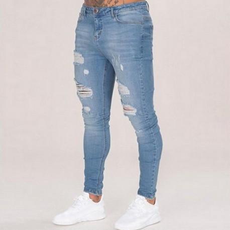 Calça Jeans Moda Rasgada Masculina Verão Homens Slim Top