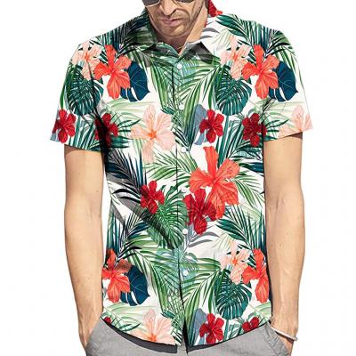 Camisa Florada Manga Curta...