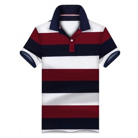 Camiseta Polo Masculina Listras Top Moda Casual Basico Homens