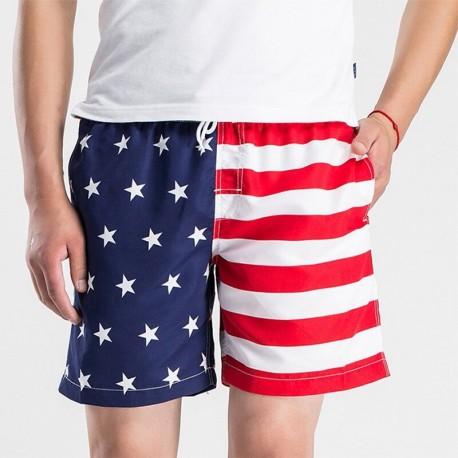 Short Bandeira Americana Praia Verão Para Banho Masculino Casual