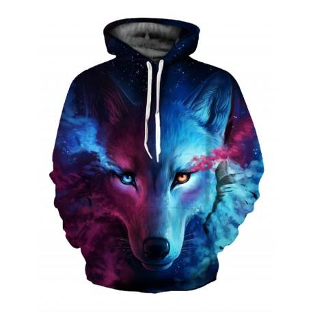 Moletom 3d Lobo Masculinho Unisex Fresco Com Capuz Ocasional Inverno