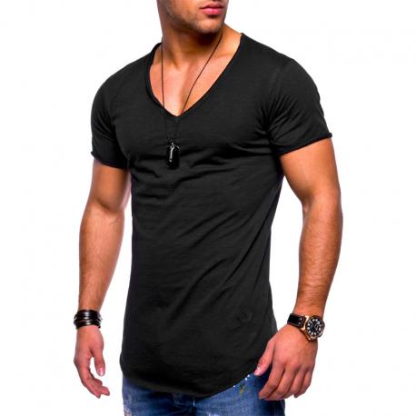 Camiseta Gola V Masculina Moda Verão Top Casual Homens