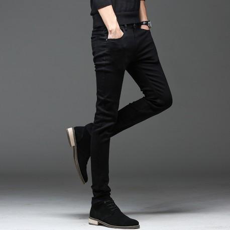 Calças Jeans Preta Casual Moderna Elástica Masculina Top