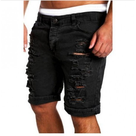 Bermuda Jeans Rasgada Destroyed com Estilo Hyper Masculina Moda Fashion Casual