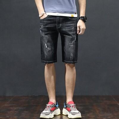 Bermuda Jeans com Rasgo...