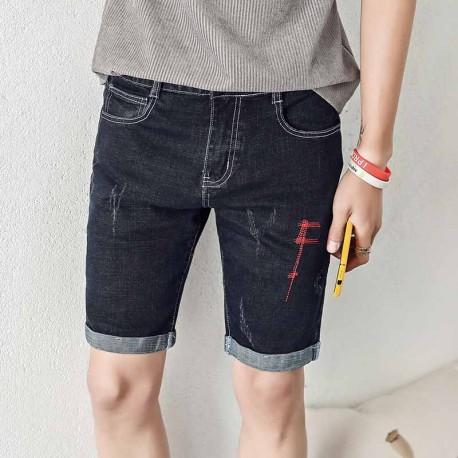 Short Jeans com Rasgos Fiados Moda Masculina Fashion Bordado com Estilo Casual