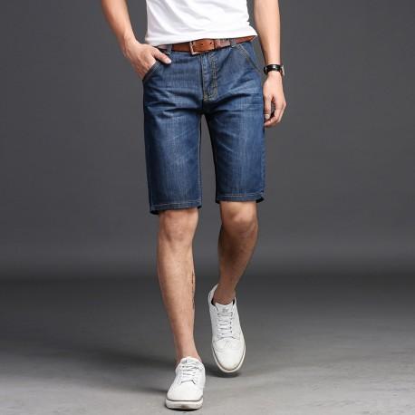 Bermuda Jeans Elegante com Estilo Masculina Casual Fashion Moderna Bolso Zipper