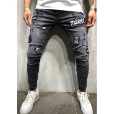 Calça Jeans Fino com Rasgos...