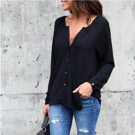 Blusa Feminina Decote V Bonita Solida Top Casual Moda Outono Top