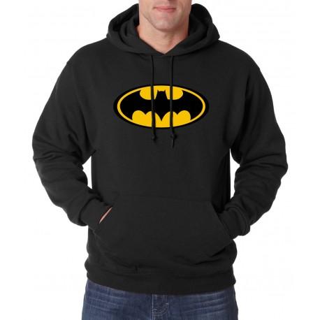 Blusão em Moletom Estampado Batman Capuz Bolso Canguru Moda Inverno Masculino