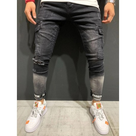 Calça Jeans Fino Justa com Bolso Lateral Cargo com Rasgos Fashion Hip Hop Moda Masculina