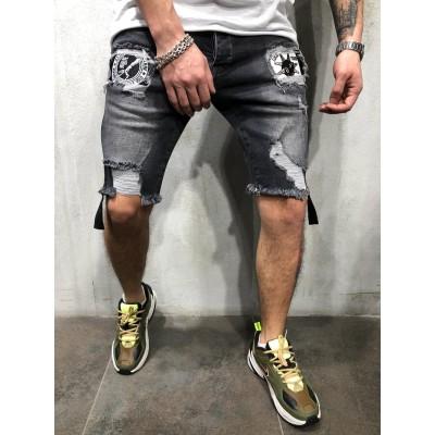 Bermuda Jeans com Rasgos...