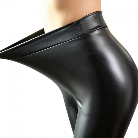 Calça Legging Preto Femina Gotica Linda Couro Sintetico Fashion